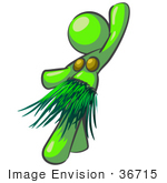 #36715 Clip Art Graphic Of A Lime Green Lady Character Hula Dancing by Jester Arts