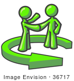 #36717 Clip Art Graphic Of Lime Green Guy Characters Shaking Hands In An Arrow Circle