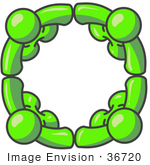 #36720 Clip Art Graphic Of Lime Green Guy Characters In A Circle