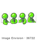 #36722 Clip Art Graphic Of Lime Green Guy Characters Having A Phone Conference On Headsets