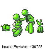 #36723 Clip Art Graphic Of A Lime Green Guy Character Family With A Baby And Pets