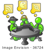 #36724 Clip Art Graphic Of Lime Green Guy Characters Using Computers In An Internet Cafe