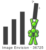 #36725 Clip Art Graphic Of Lime Green Guy Characters In A Bar Graph