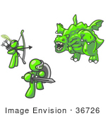 #36726 Clip Art Graphic Of Lime Green Guy Characters Fighting A Dragon