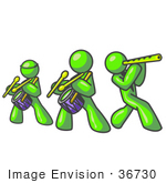 #36730 Clip Art Graphic Of Lime Green Guy Characters In A Band by Jester Arts