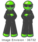 #36732 Clip Art Graphic Of Lime Green Guy Characters Guarding