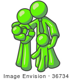 #36734 Clip Art Graphic Of A Lime Green Guy Character Family Embracing