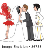 #36738 Clip Art Graphic Of A Vegas Showgirl In Red And An Elvis Impersonator Witnessing A Marriage Ceremony