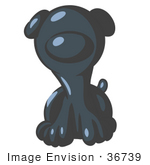 #36739 Clip Art Graphic of a Dark Blue Puppy Dog by Jester Arts