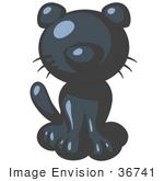 #36741 Clip Art Graphic of a Dark Blue Kitty Cat by Jester Arts