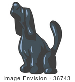 #36743 Clip Art Graphic Of A Dark Blue Dog Howling Or Sniffing