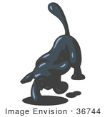 #36744 Clip Art Graphic Of A Dark Blue Dog Digging A Hole