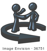 #36751 Clip Art Graphic Of Dark Blue Guy Characters Shaking Hands In An Arrow Circle