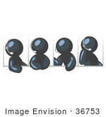#36753 Clip Art Graphic of Dark Blue Guy Characters in Different Poses, Talking on Headsets by Jester Arts