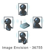 #36755 Clip Art Graphic of Dark Blue Guy Characters Discussing on Bluetooth Headsets by Jester Arts