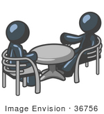#36756 Clip Art Graphic of Dark Blue Guy Characters Having a Meeting at a Table by Jester Arts
