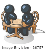 #36757 Clip Art Graphic Of Dark Blue Guy Characters Reviewing Plans At A Table