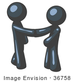 #36758 Clip Art Graphic Of Dark Blue Guy Characters Shaking Hands