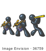#36759 Clip Art Graphic Of Dark Blue Guy Characters Playing Drums And A Flute In A Band