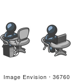 #36760 Clip Art Graphic Of Dark Blue Guy Characters Working On Laptop And Desktop Computers