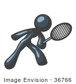 #36766 Clip Art Graphic Of A Dark Blue Lady Character Playing Tennis