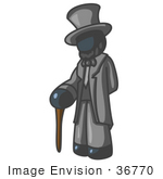 #36770 Clip Art Graphic Of A Dark Blue Guy Character As Abraham Lincoln