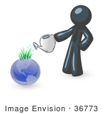 #36773 Clip Art Graphic Of A Dark Blue Guy Character Watering The Earth