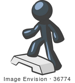 #36774 Clip Art Graphic Of A Dark Blue Guy Character Doing Steps At The Gym