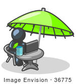 #36775 Clip Art Graphic Of A Dark Blue Guy Character Working On A Laptop Under An Umbrella