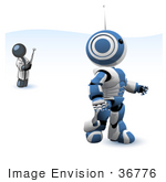 #36776 Clip Art Graphic Of A Dark Blue Guy Character Controlling A Robot