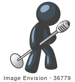 #36779 Clip Art Graphic Of A Dark Blue Guy Character Tipping A Microphone