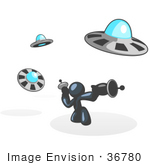 #36780 Clip Art Graphic Of A Dark Blue Guy Character Fighting Ufos