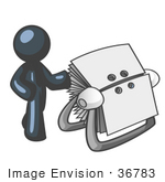#36783 Clip Art Graphic of a Dark Blue Guy Character With a Rolodex by Jester Arts
