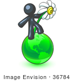 #36784 Clip Art Graphic Of A Dark Blue Guy Character With A Daisy On The Globe