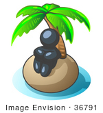 #36791 Clip Art Graphic Of A Dark Blue Guy Character Alone On An Island