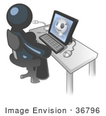 #36796 Clip Art Graphic of a Dark Blue Guy Character Using a Computer by Jester Arts
