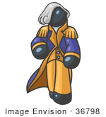 #36798 Clip Art Graphic Of A Dark Blue Guy Character As George Washington