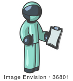 #36801 Clip Art Graphic Of A Dark Blue Guy Character Surgeon In Scrubs
