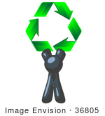 #36805 Clip Art Graphic Of A Dark Blue Guy Character Holding Recycle Arrows