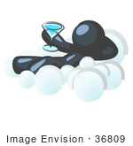 #36809 Clip Art Graphic Of A Dark Blue Guy Character Drinking A Cocktail On A Cloud