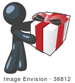 #36812 Clip Art Graphic Of A Dark Blue Guy Character Holding A Gift