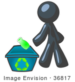 #36817 Clip Art Graphic Of A Dark Blue Guy Character Recycling