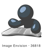 #36818 Clip Art Graphic of a Dark Blue Guy Character Reading a Book by Jester Arts