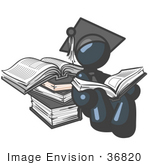 #36820 Clip Art Graphic of a Dark Blue Guy Character Graduate Reading Books by Jester Arts