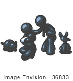 #36833 Clip Art Graphic Of A Dark Blue Guy Character Family With A Baby And Pets