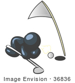 #36836 Clip Art Graphic of a Dark Blue Guy Character Trying to Blow a Golf Ball Into the Hole by Jester Arts