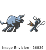 #36839 Clip Art Graphic Of A Dark Blue Guy Character Battling A Bull With A Whip
