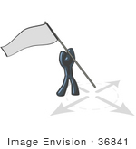 #36841 Clip Art Graphic of a Dark Blue Guy Character Claiming Territory With a Flag by Jester Arts