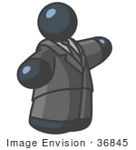 #36845 Clip Art Graphic of a Fat Dark Blue Guy Character Pointing by Jester Arts
