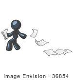 #36854 Clip Art Graphic Of A Dark Blue Guy Character Dropping Papers